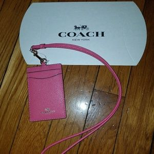 New with tag coach pink ID lanyard